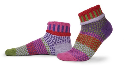Solmate Socks, Mismatched Ankle Socks, USA Made with Recycled Yarns, Hyacinth Lg