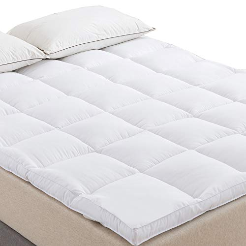 Naluka Mattress Topper Queen Size, Down Alternative Overfilled White Pillow Top Mattress Cover Plush Hypoallergenic Super Soft 2 Inch Thick Mattress Pad ()