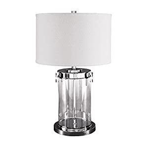 Signature Design by Ashley L430244 Contemporary Tailynn Glass Cylindrical Table Lamp with Drum Shade, Clear/Silver Finish