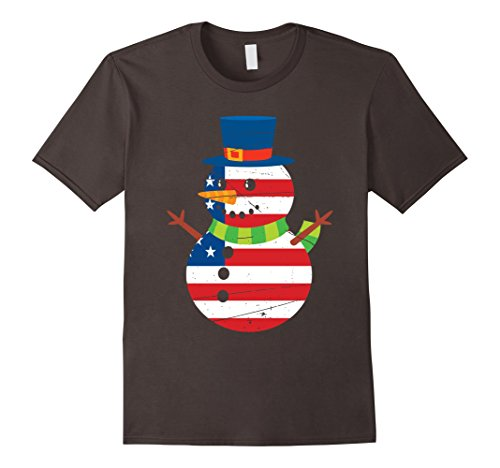 Mens Patriotic USA Snowman with USA Flag Christmas Shirt Small (Christmas Patriotic Snowman)