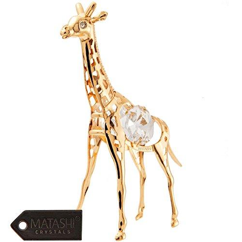 24K Gold Plated Crystal Studded Gold Giraffe Ornament by Matashi (Gold Giraffe Figurine)