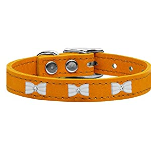 Mirage Pet Products 83-49 Mn24 White Bow Widget Genuine Leather Mandarin Dog Collar Click on image for further info.