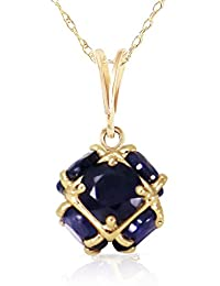 14k Yellow Gold Necklace with Natural Sapphires