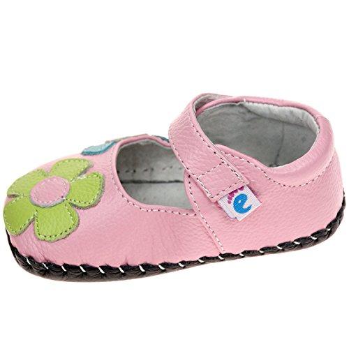 FREYCOO–infantil niñas Real piel suave suela zapatos de bebé–Rosa con flores de colores y Velcro–con calzador