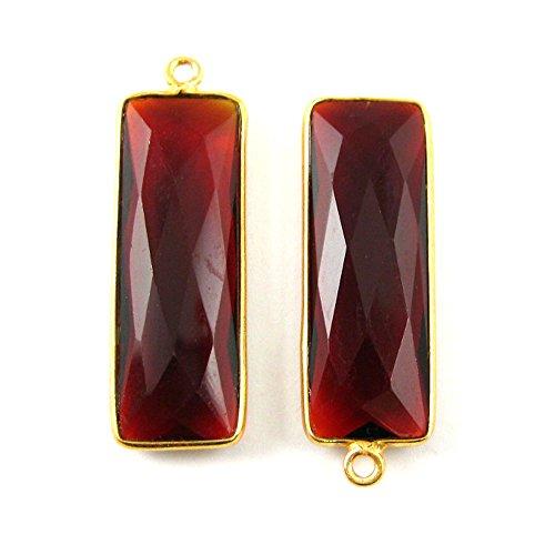 Gold plated Bezel Charm Pendant - Elongated Rectangle - Garnet Quartz- January Birthstone -34 by 11mm-(2 pcs) ()
