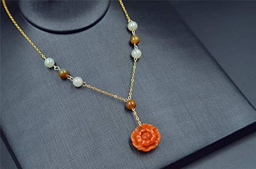 - red jade necklace grade A natural jadeite flower pendant 14k filled yellow gold chain