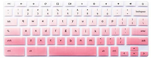 Silicone Keyboard Cover Skin Compatible for 11.6 inch Samsung Chromebook 3 XE500C13 XE501C13, 11.6 inch Samsung Chromebook 2 XE500C12, 12.2 inch Samsung Chromebook Plus V2 2-in-1 XE520QAB (Ombre Pink)