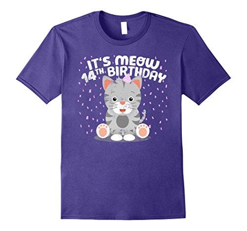 Cat Costumes For 14 Year Olds (Mens Kitten Birthday Gift Kids 14th Birthday Kitty Cat Girl Gift Medium Purple)