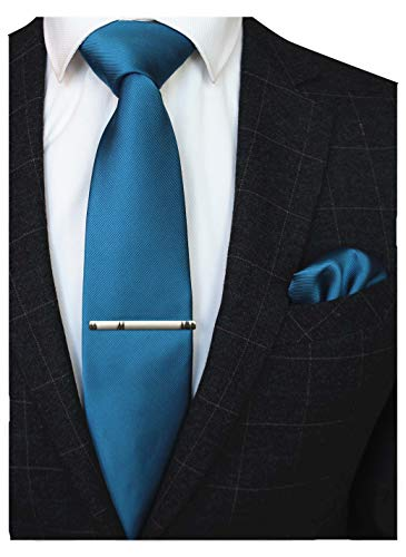 (JEMYGINS Peacock Blue Formal Necktie and Pocket Square Tie Clip Sets for Men (21))