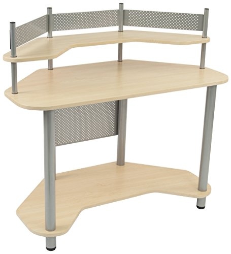 Calico Designs 55124 Study Corner Desk, Silver with Maple - Corner Computer Center