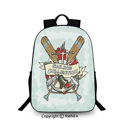 Travel waterproof schoolbag,Sailing Collection Yacht Club Bell Antiques Historical Items Long Glass Life Saver Travel College School Bags