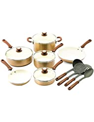 Copper Trisha Yearwood Cottage Precious Metals 14 Piece Non Stick Ceramic Cookw Supplier Dealsea
