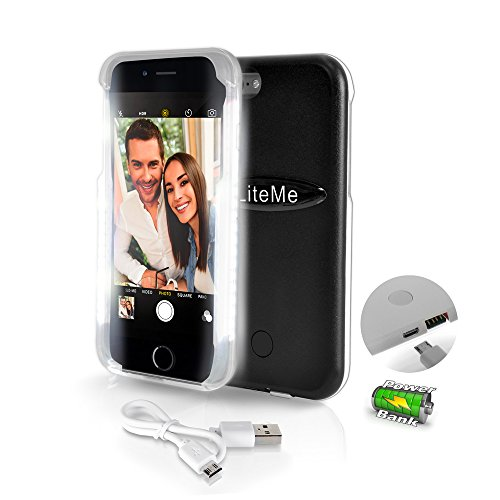 SereneLife iPhone 6 iPhone 6S Selfie Case - Durable LED Illuminated Flashing Light selfie case for Instagram Snapchat with Power Bank Phone Charger. (SLIP101BK) ()