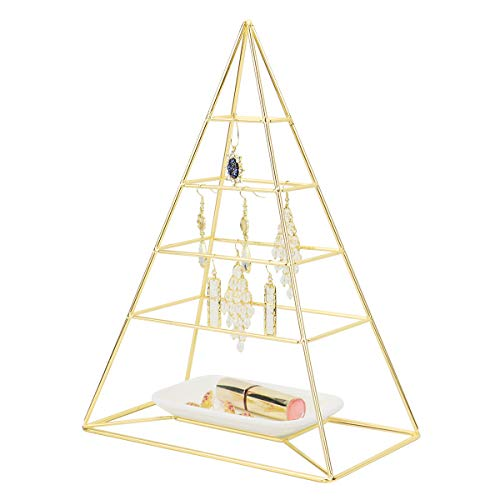 (MORIGEM Jewelry Organizer, Pyramid 4 Tier Jewelry Tower, Decorative Jewelry Holder Display with White Tray for Necklaces, Bracelets, Earrings & Rings, Gold)
