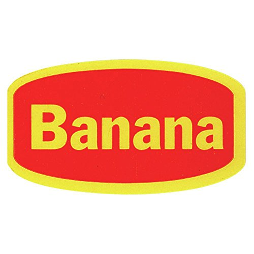 (Banana Labels Red Traditional Flavor Food Packaging Labels Yellow Imprint- 1 3/8 L x 3/4 H 1000 Per)