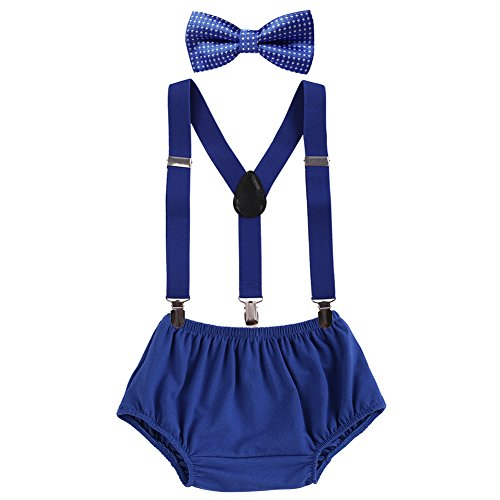 - Baby Boys Adjustable Y Back Clip Suspenders Outfit First Birthday Bloomers Bowtie set Dark Blue