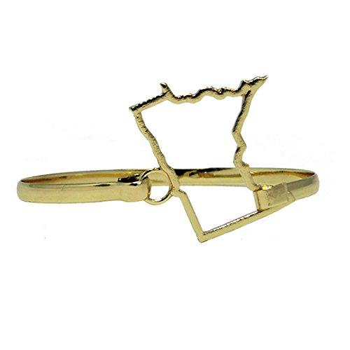 Bracelet Calypso Studios - Calypso Studios Inc. Minnesota State Shape Bangle Bracelet Goldtone Patriotic