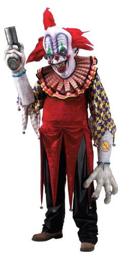 It Scary Clown Costumes (Giggles The Clown Creature Reacher Deluxe Oversized Mask and Costume)