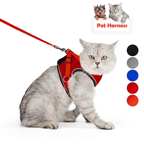 SENYE PET Cat Harness with Leash Set (M, Red)