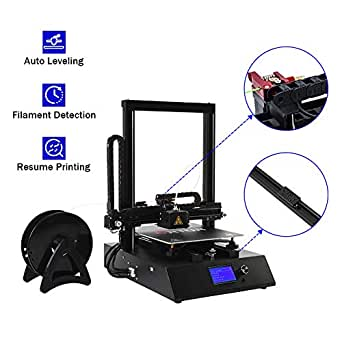 3D Printer with Linear Guide Rail and DirectDrive Extruder,Large Heated (260X310X305mm) Build Plate,Free PLA Filament Sample & 16 GB MicroSD Card Preloaded with Printable 3D Models and Dual Z-Axi