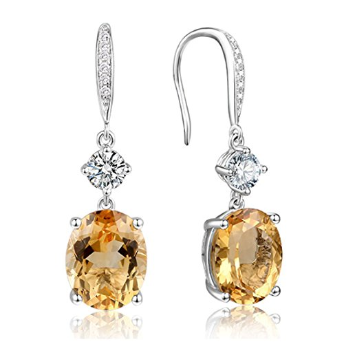 925 Silver Gold Canary Citrine Drop Dangle Earrings with Halo CZ Gemstone Hook ears for Women