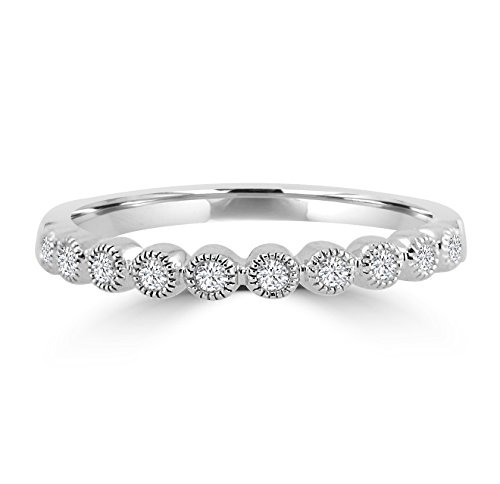 Bezel Set Diamond Half Eternity 10k White Gold Milgrain Stackable Wedding Band (Half Bezel Set)