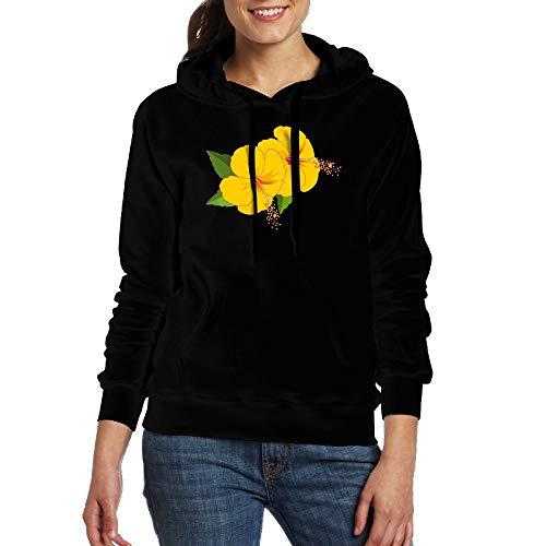 Lamont Rhea Women's Yellow Flowers Fashion Long Sleeve Sweatshirt Pullover Hoodies with Pocket Black M