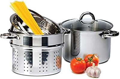 4 Pcs Stainless Steel Pasta Cooker Set - 8 qt Stock Pot with Steamer Inserts by AUG