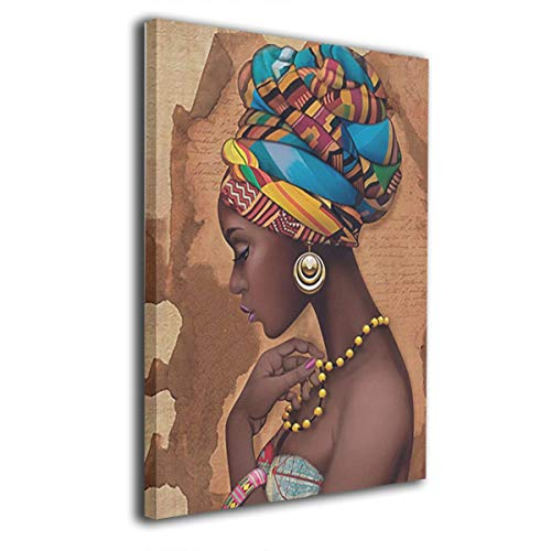 Okoart Canvas Wall Art Prints African Yellow Ethnic Necklace -Picture Paintings Contemporary Home Decoration Giclee Artwork-Wood Frame Gallery Stretched ()