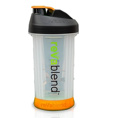 Orange Juice Protein Shake - Portable Blender by Revablend | Requires no Battery or Electricity | Ultimate Personal Blending Bottle for Protein Shakes, Smoothies, & Juices | Great for Camping & Picnics | BPA Free | 16 OZ - Orange
