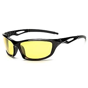 Night Vsion Sunglasses for Cycling Running Fishing Driving Men and Women Yellow Lens(Black, Yellow)