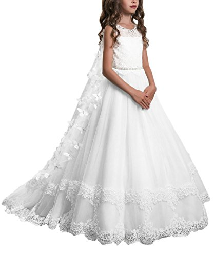 PLwedding Lace Flower Girls Dresses Girls First Communion Dress Princess Wedding Size 8 White ()