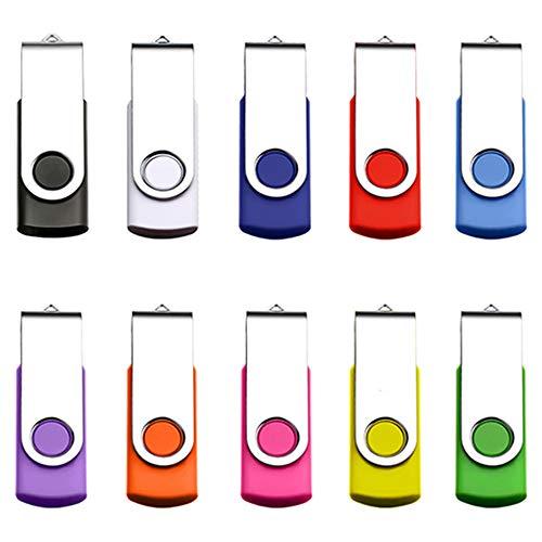 Yoochin 10Pcs USB Flash Drive USB 2.0 Memory Stick Fold Storage Thumb Stick Pen Drive Swivel Design Multi-Color Drive Memory cle USB Stick U Disk Pen driv (512MB)