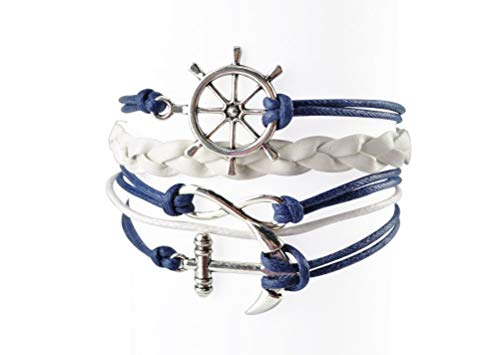 BLUETOP Nautical Bracelets for Women Navy Rudder Anchor Braided Weave Leather Rope Leisure Bracelet Style Collection