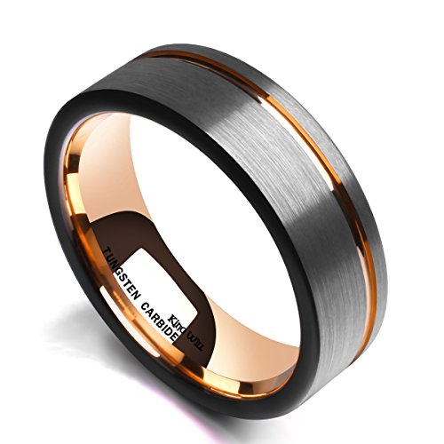 King Will Tungsten Carbide Wedding Ring 7mm Rose Gold Line Flat Pipe Cut Brushed Polished Comfort Fit