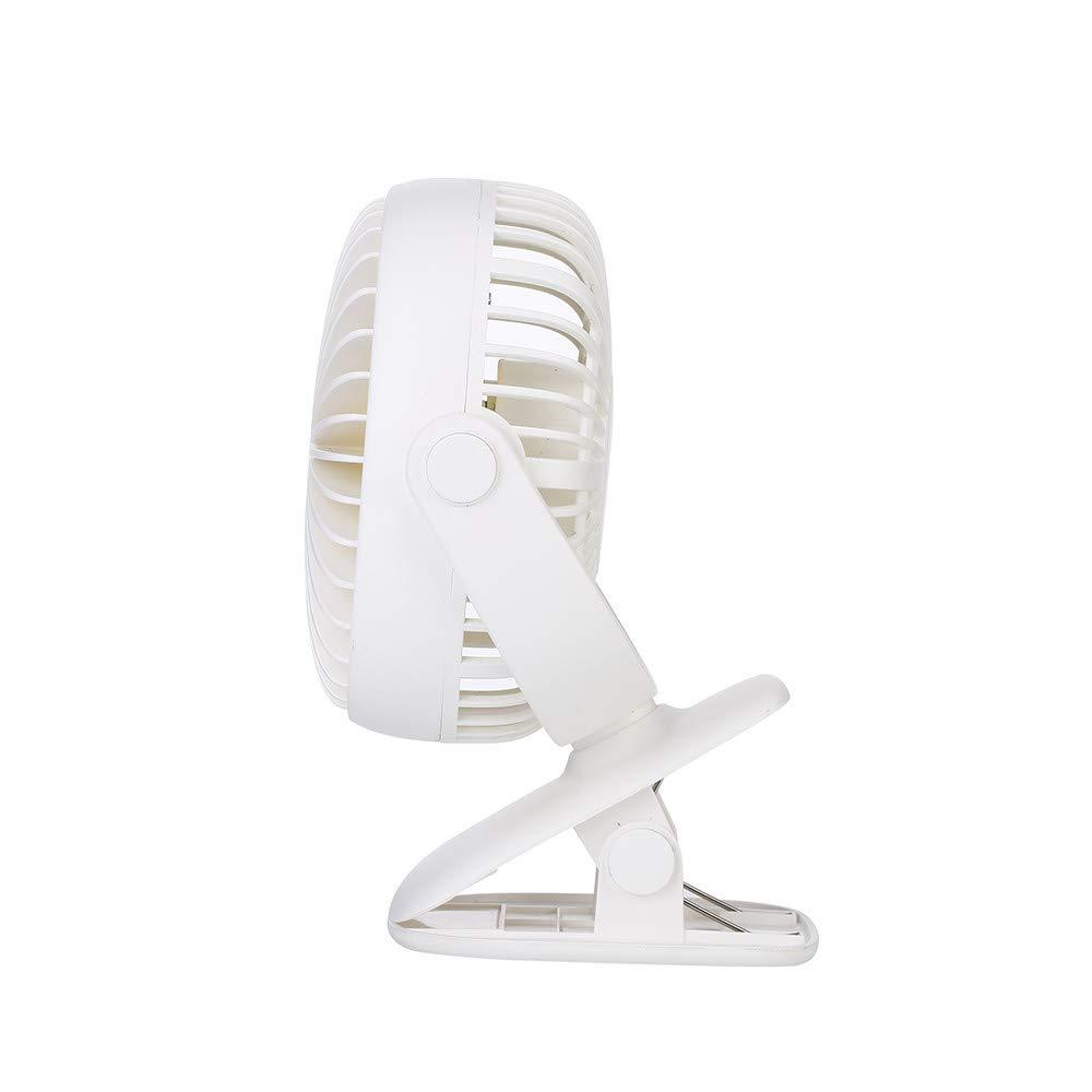 Mini Fan USB, TechCode 3 Speed Adjustable 360° Rotation Portable Personal Fan Small Cooling Table Fan Car Laptop Fan with LED Night Light for Baby Children Girls Women (White) by TechCode (Image #3)