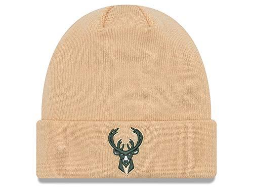 New Era Milwaukee Bucks Tan Cuffed Breakaway Beanie Hat - NBA Cuff Knit Toque Cap]()