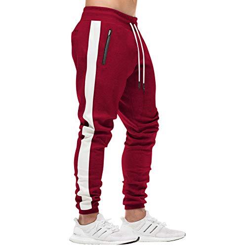 2b68946f6c08e MECH-ENG Men s Workout Joggers Stripe Gym Pants Slim Fit Sweatpants Zipper  Pockets