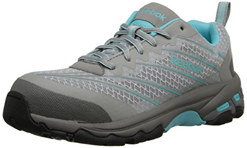 Reebok Work Women's Exline RB421 Fire and Safety Shoe, Light Grey/Teal Trim, 8.5 M US