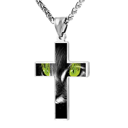 Cross Necklace Pendant Green Eyes Cat in Space Religious Jewelry