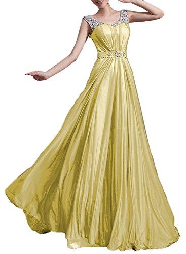 Azbro Mujer Rhinestone Trim Scoop cuello sin mangas fiesta Prom Vestido Amarillo