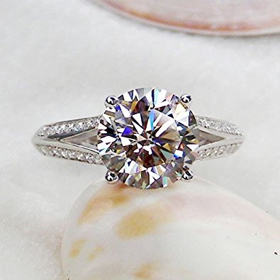 3 Ct Round Brilliant Cut Nscd Simulated Diamond Solitaire Split Shank Pave 925 Sterling Silver Wedding Engagement Ring, All US Size 4 to 13 Available - 18k Pave Diamond Ring
