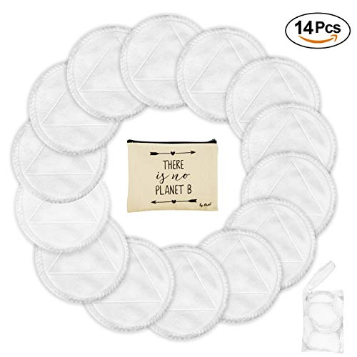 14 Reusable Makeup Remover Pads - Organic Bamboo Cotton Rounds, Zero Waste Makeup Remover Wipes, Cotton Pads for Face with Travel Bag & Mesh Laundry Bag, Eco Friendly Products for a Greener Tomorrow