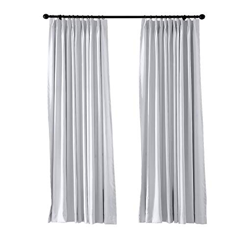 cololeaf Pinch Pleated Blackout Curtains Room Darkening Drapes Thermal Insulated Solid Window Treatment Pair Bedroom, Nursery, Living Room,French Door,White 52W x 96 Inch (1 (French Pleated Drapes)