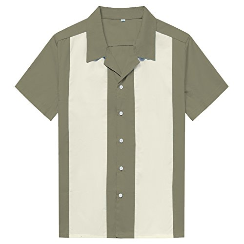 Anchor MSJ Men's 50s Male Clothing Rockabilly Style Casual Cotton Blouse Mens Fifties Bowling Dress Shirts (XXL, Olive)