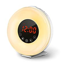 Wake Up Light COULAX Sunrise and Simulation Alarm Clock, 6 Alarm Sounds, Smart Snooze Function, FM Radio with 7 Colors LED Night Light for Bedside, Adults and Kids (LT002)