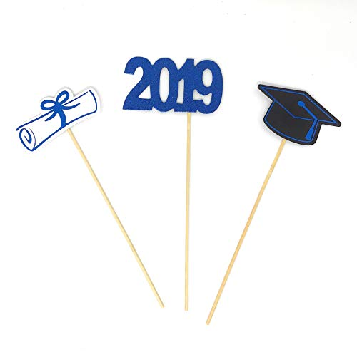 PaperGala Double Sided Graduation 2019 Centerpiece Sticks Set of 3 in Blue Graduation Hat Diploma Year Floral Picks Glitter and Foil (Blue-2019) -