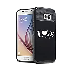 Samsung Galaxy S6 Shockproof Impact Hard Case Cover Love Hair Cutting Crafts (Black)