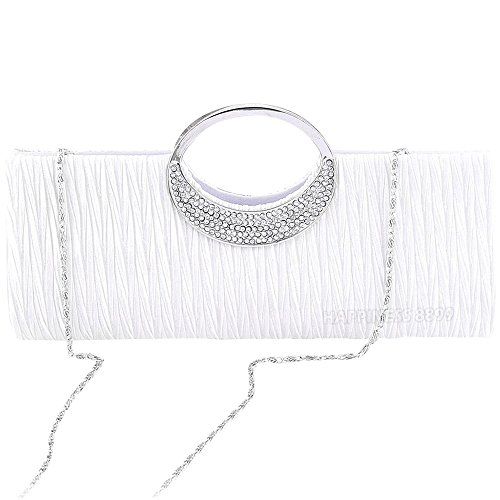 Bag White Handbag Ladies Bridal Crystal Clutch Black Silver Party Womens Diamante Wallet White Purse Tote Evening Wedding HOg5wxqPA