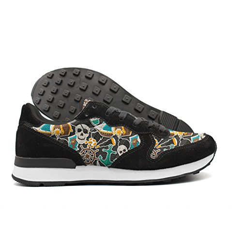 Hoohle Pirate Skulls Anchor Graphic Print Men Vintage Internationalist Leather Mid Suede Sports (Bandana Pirate Suede)